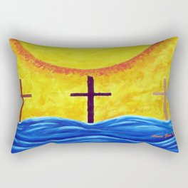 No Matter What Your Race Jesus Saves All By Grace By Annie Zeno Rectangular Pillow