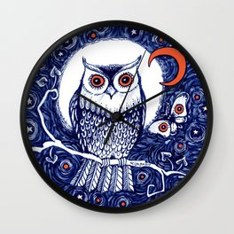 Little owl with moon kids room owl illustration Wall Clock