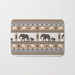 Boho animals | Elephants tan Bath Mat