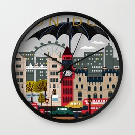 Welcome, Rain, Street ,Umbrella ,London Wall Clock