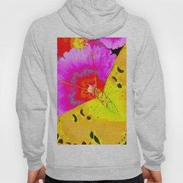 MODERN ART YELLOW BUTTERFLIES & FUCHSIA PINK FLOWERS Hoody