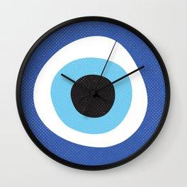 Blue Evil Eye Symbol Lucky Charm Black Background Wall Clock