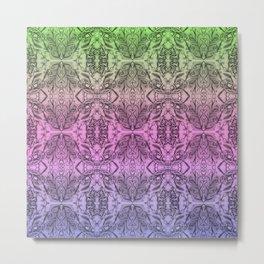 Colorful Gradient Floral Doodle Pattern 2 Metal Print
