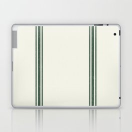Green Stripes on Creme background French Grainsack Distressed Country Farmhouse Laptop & iPad Skin
