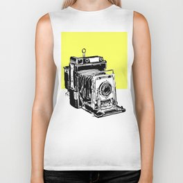 Vintage Graphex Camera pop art print in canary yellow Biker Tank