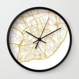 LISBON PORTUGAL CITY STREET MAP ART Wall Clock