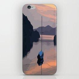 Boat At Bozburun At Sunset Vector Image iPhone Skin
