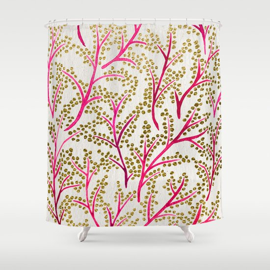 Pink Gold Branches Shower Curtain By Cat Coquillette Society6