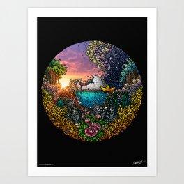 Broken Moon - Colored - Black Background Art Print
