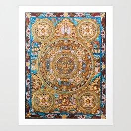 Buddhist Mandala Five Circles Mudra Art Print