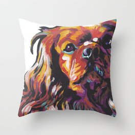 Ruby Cavalier King Charles Spaniel Dog Portrait Pop Art painting by Lea Throw Pillow