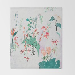 Abstract Jungle Floral on Pink and White Throw Blanket