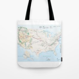 National Parks Trail Map Tote Bag