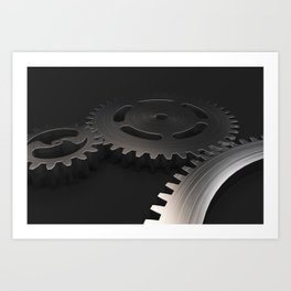 Set of metal gears and cogs on black Art Print