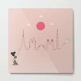 Tokyo Skyline Kite Metal Print