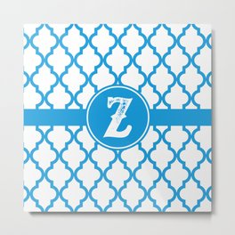 Blue Monogram: Letter Z Metal Print