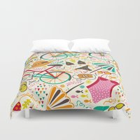 cycle Duvet Covers featuring Seaside Cycle by Anna Deegan
