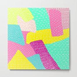 Modern summer rainbow color block hand drawn patchwork pattern illustration Metal Print