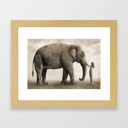 One Amazing Elephant - sepia option Framed Art Print