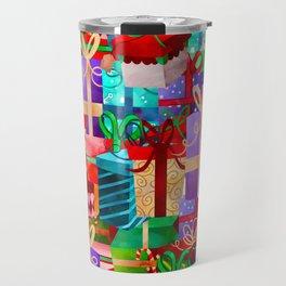 Christmas Presents Galore - Bright Neon Christmas Gift Pattern Travel Mug