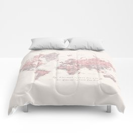 """Nude, dusty pink and grey world map with cities, No small dreams, """"Kaia"""" Comforters"""