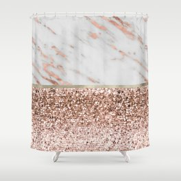 Warm chromatic - rose gold marble Shower Curtain