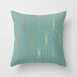 ELEGANT BLUE GOLD PATTERN Throw Pillow