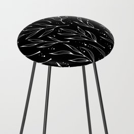 Plant doodles black Counter Stool