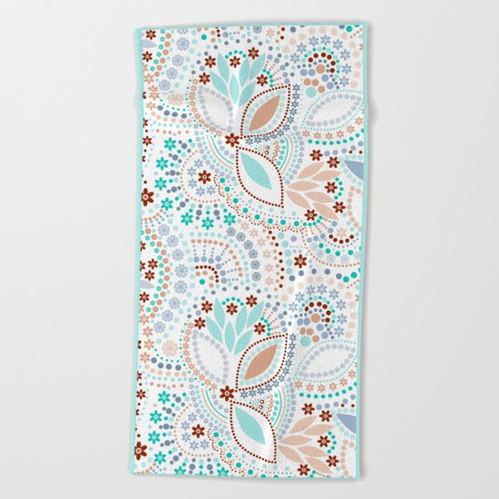 Colorful pattern light pastel colors with beads Beach Towel