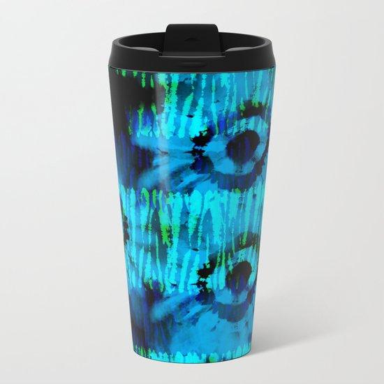 Blue and Green Tie Dye Metal Travel Mug