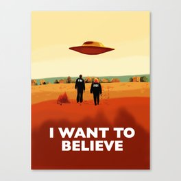 Mulder and Scully I want to believe poster Canvas Print