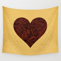 ursula Wall Tapestries featuring - heart line - by Magdalla Del Fresto