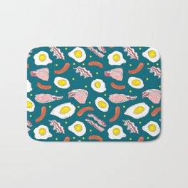 Bacon Eggs Sausages Breakfast Kitchen Food Pattern Bath Mat