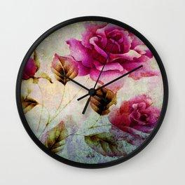 rosebush and textures Wall Clock