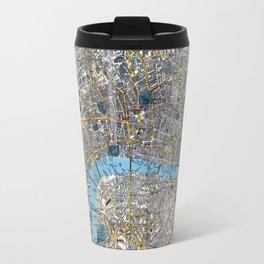 Vintage London Gold Foil Location Coordinates with map Travel Mug