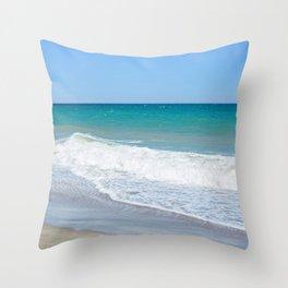 Sandy beach and Mediterranean sea Throw Pillow