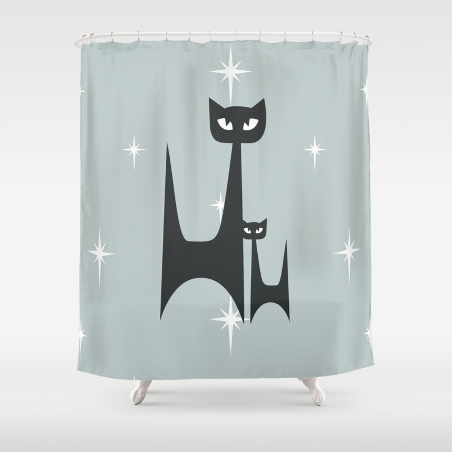 Mid Century Atomic Blue Cats Shower Curtain By Dianadebord Society6