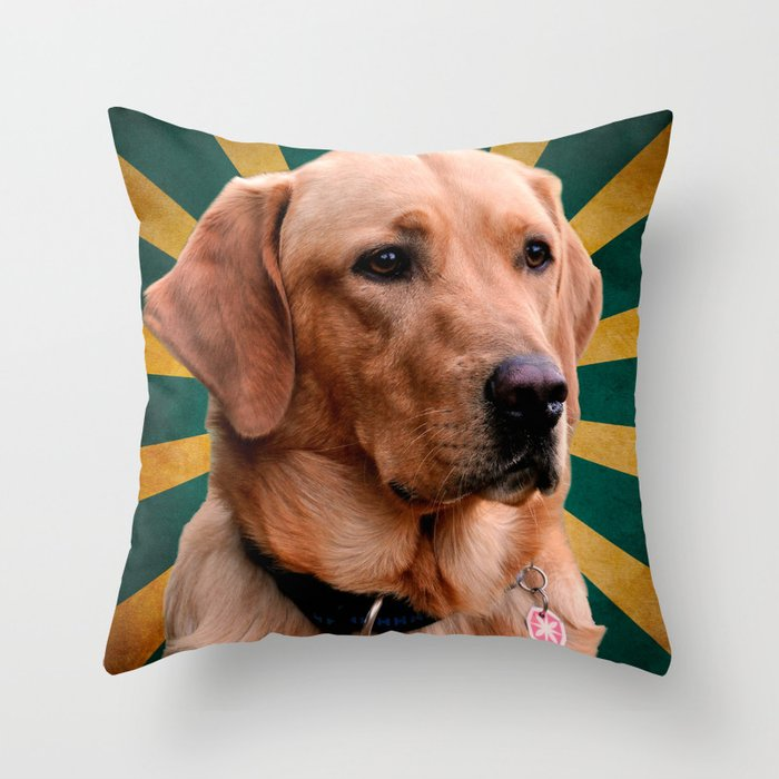 Golden Retriever Vintage Background Green Yellow Throw Pillow By Marios