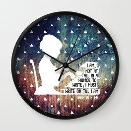 Jane Austen Writing Quote Wall Clock