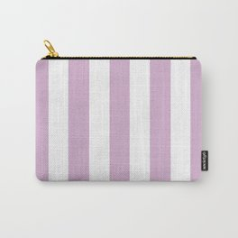 Pink lavender violet - solid color - white vertical lines pattern Carry-All Pouch