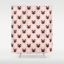 Siamese Cat cute cat paw print pink pastel kids fur baby pet portrait siamese cat owner must have  Shower Curtain