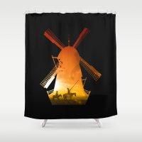 giants Shower Curtains featuring Fighting Giants (dark version) by DV designstudio