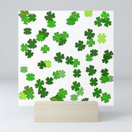 Shamrocks Falling - Pattern for Saint Patricks Day Mini Art Print