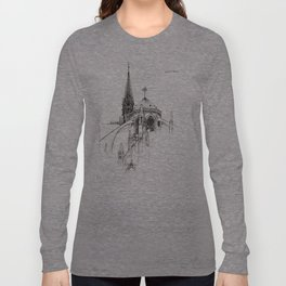 Notre Dame Cathedral Sketch Long Sleeve T-shirt