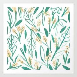 Mustard & Green Leaves Art Print