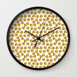 Gold Metallic Foil Photo-Effect Monstera Giant Tropical Leaves Wall Clock