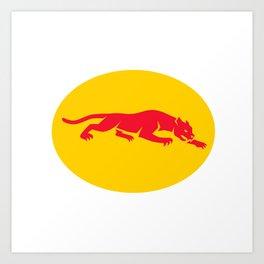 Panther Crouching Oval Retro Art Print
