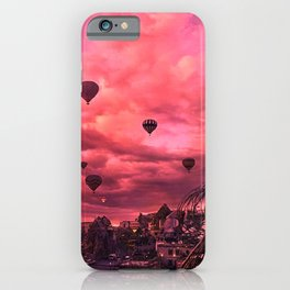 Hot Air Balloons On The Pink Sky iPhone Case