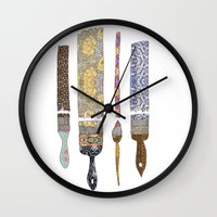 xmas Wall Clocks featuring color your life by Bianca Green