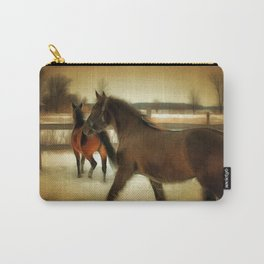 Horses Along a Fence in Snow in Winter. Golden Age Painting Style. Carry-All Pouch
